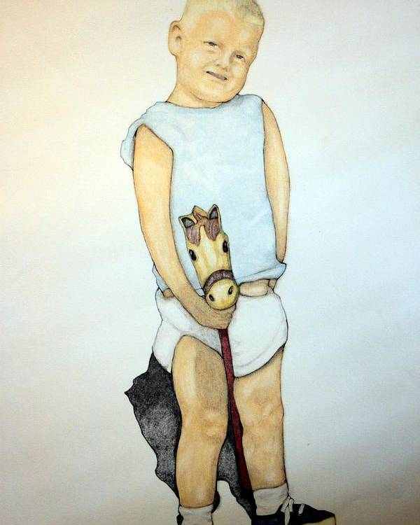 Boy Poster featuring the drawing A Boy On A Stickhorse by Edward Ruth