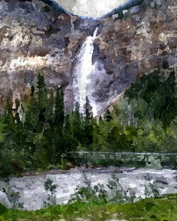 Rocky Mountains Poster featuring the digital art A Bridge To The Falls by Don Berg