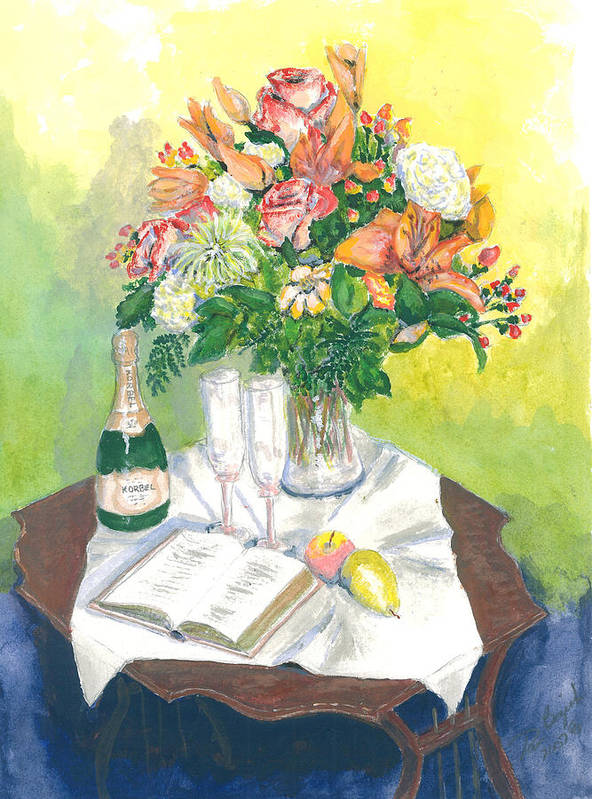Still Life Poster featuring the painting A Champagne Moment by Dan Bozich