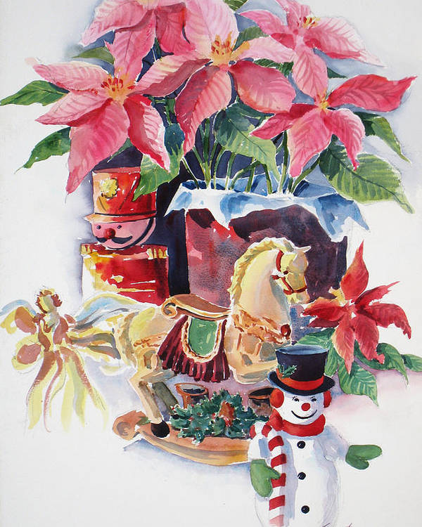 Stilllife Poster featuring the painting A Christmas Fantasy by Don Trout