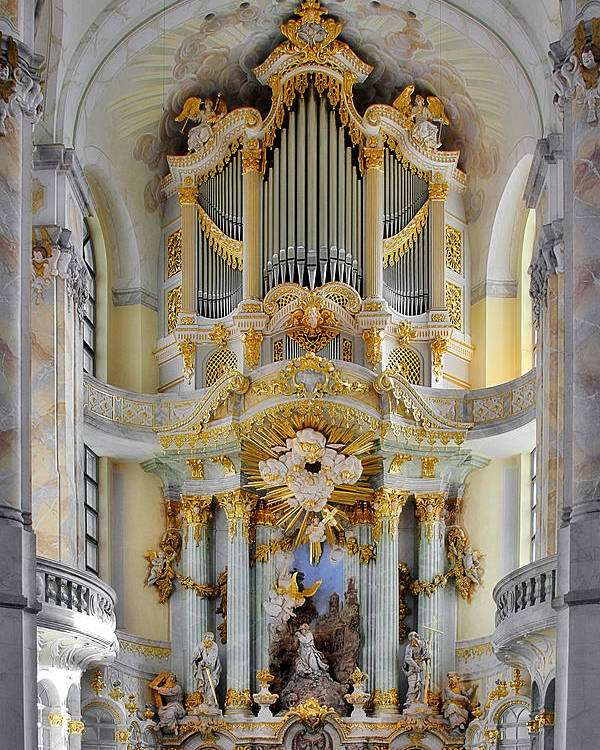 Organ Poster featuring the photograph A Church Filled With Music - Church Of Our Lady Dresden by Christine Till
