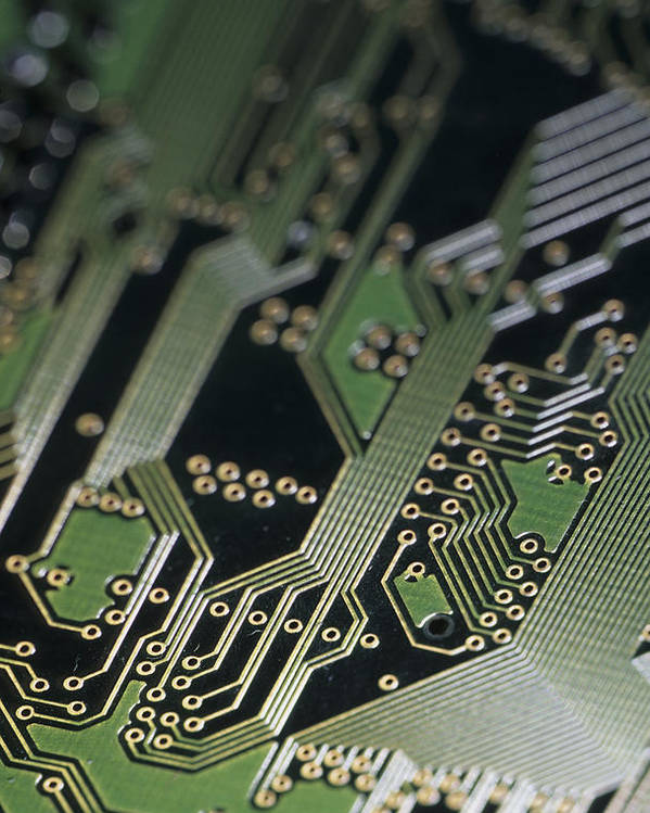 Computers Poster featuring the photograph A Close View Of A Silicon Circuit Board by Taylor S. Kennedy