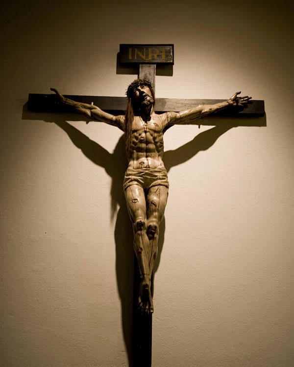 New Mexico Poster featuring the photograph A Crucifix In The Old Saint Francis by Stephen St. John