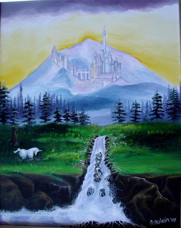 Landscape Poster featuring the painting A Fairytale by Glory Fraulein Wolfe