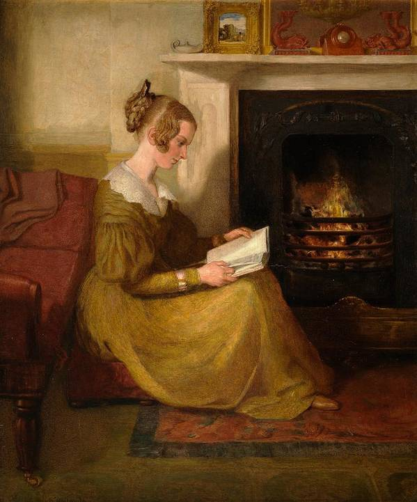 A Fireside Read Poster featuring the painting A Fireside Read by William Mulready