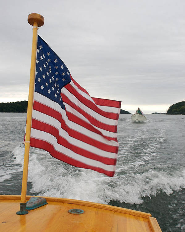 Nobody Poster featuring the photograph A Flag Waves On The Stern Of A Maine by Heather Perry