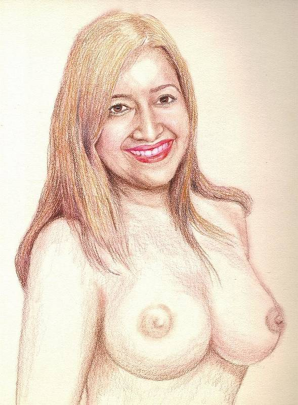 Nude Portrait Poster featuring the drawing A Friend by Benito Alonso