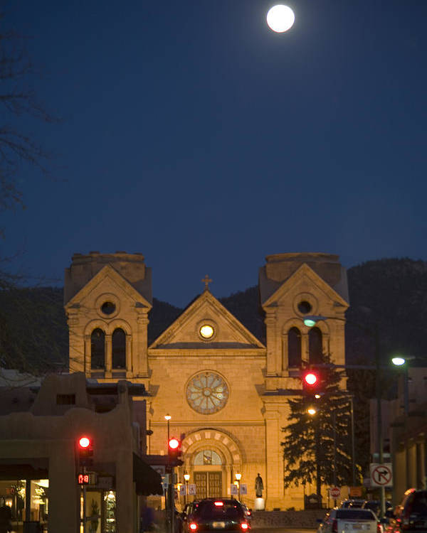 New Mexico Poster featuring the photograph A Full Moon Rises Over Cathedral by Stephen St. John
