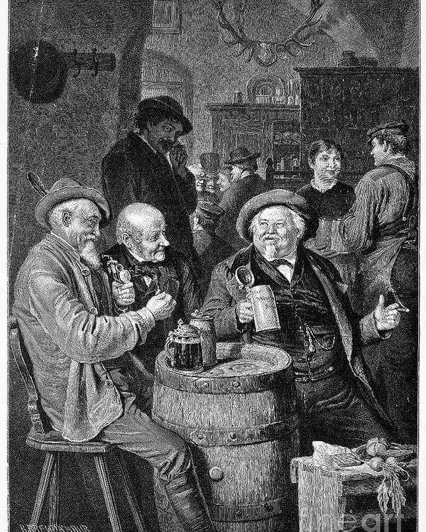 19th Century Poster featuring the photograph A German Tavern by Granger
