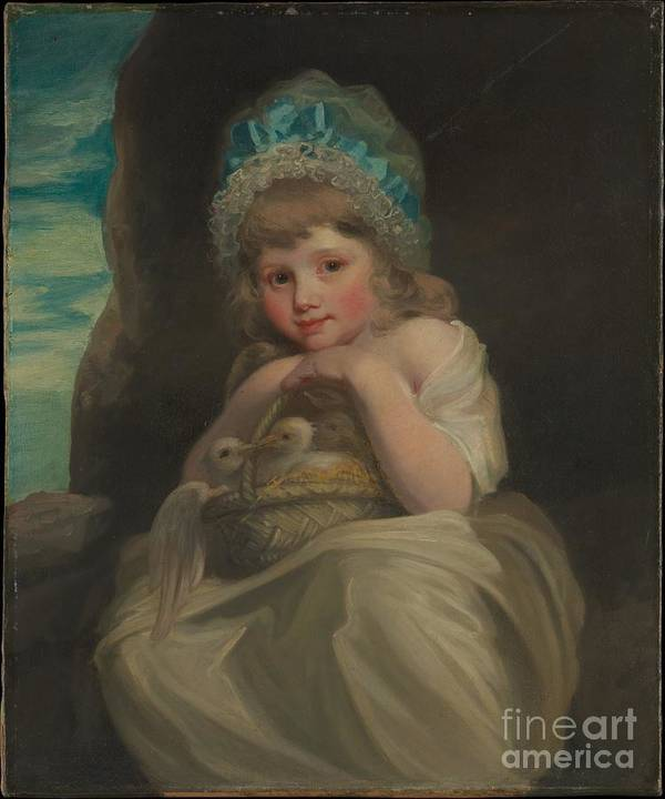 British Painter (ca. 1800) Poster featuring the painting A Girl With A Basket Of Birds by Celestial Images