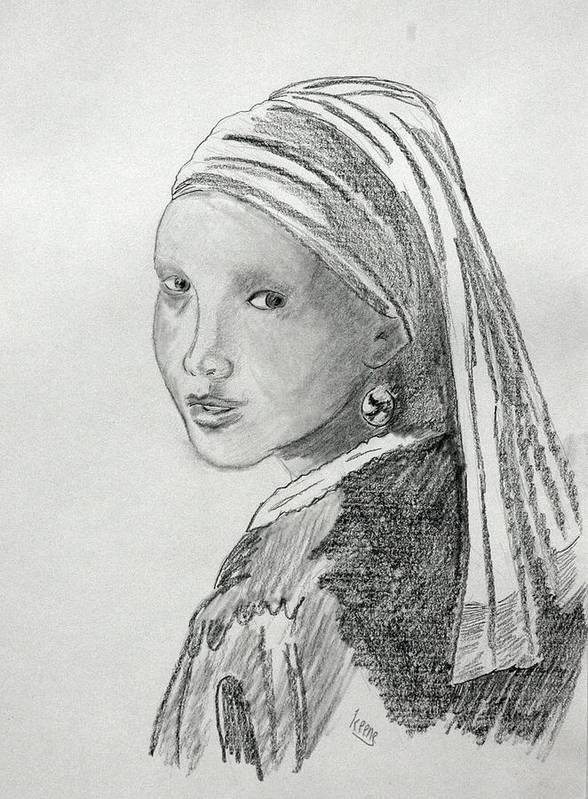 Poster featuring the drawing A Girl With A Pearl Earring After Vermeer by David Keene