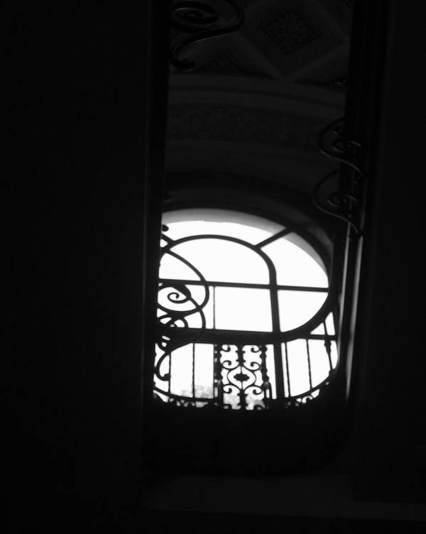 Window Silhouette From A Stairwell Poster featuring the photograph A Glimpse Of Sky by Lindsey Orlando