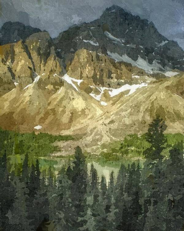 Rocky Mountains Poster featuring the digital art A Gray Sky Over The Canadian Rockies by Don Berg