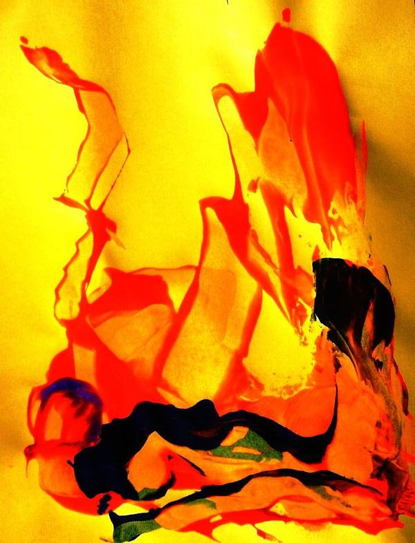 Abstract Poster featuring the painting A Hot Time by Bruce Combs - REACH BEYOND