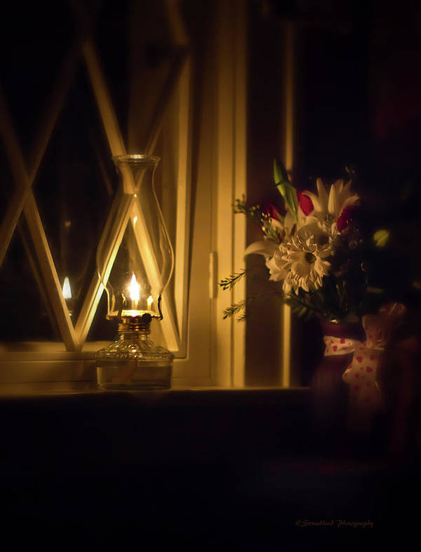 Oil Lamp Poster featuring the photograph A Lamp In The Window For My Love by Straublund Photography