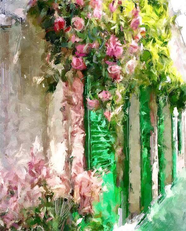 Street Poster featuring the digital art A Little Cozy Street With Roses by Tanya Gordeeva