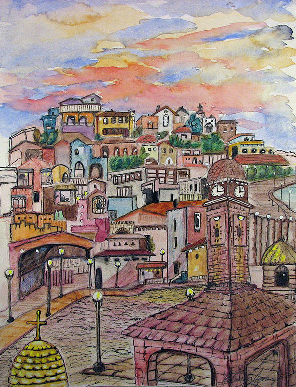 Townscape Poster featuring the painting A Little Town In France by Patricia Arroyo