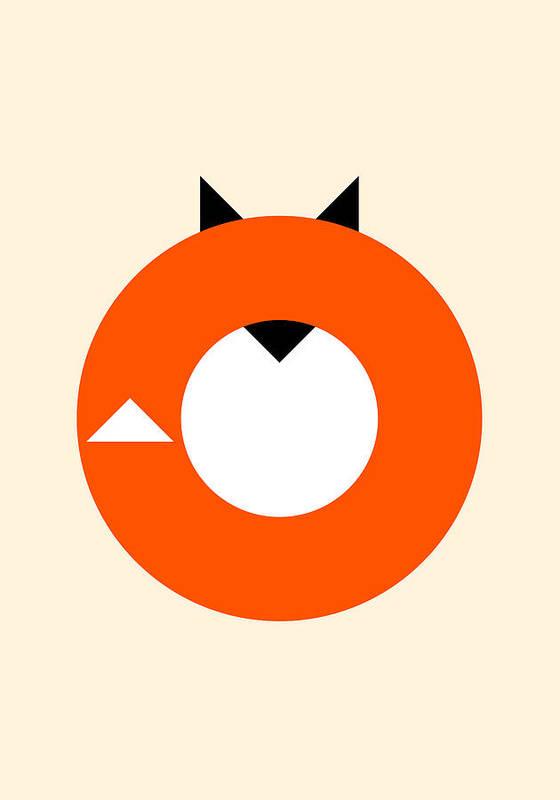 Fox Poster featuring the digital art A Most Minimalist Fox by Nicholas Ely