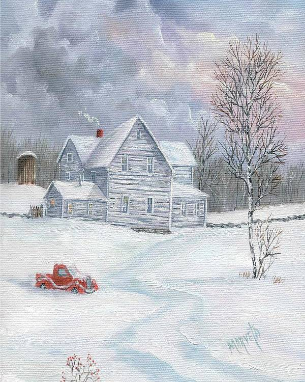 Landscape Snow Landscape Poster featuring the painting A Peaceful Day by Marveta Foutch