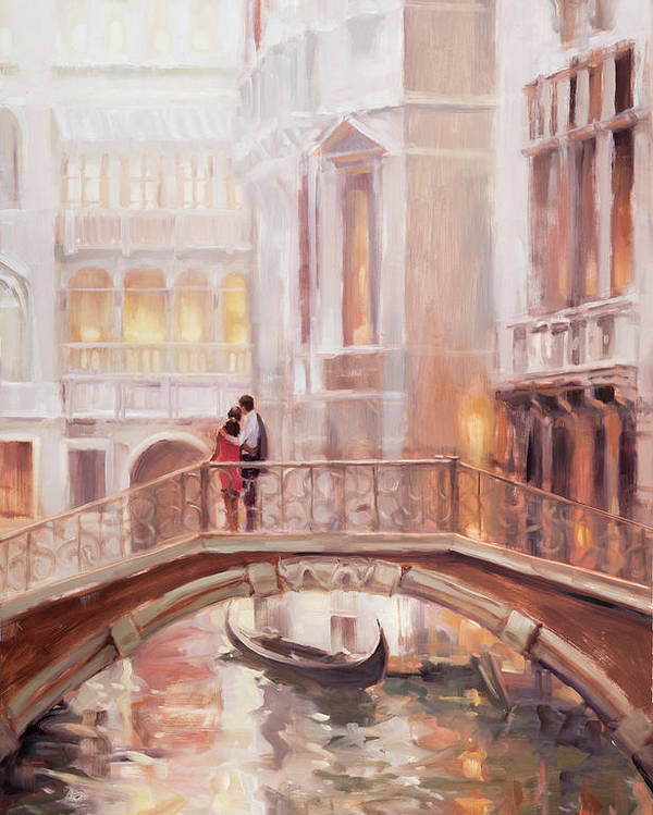 Romantic Poster featuring the painting A Perfect Afternoon in Venice by Steve Henderson