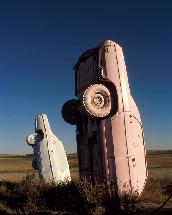 Carhenge Poster featuring the photograph A Pink Caddilac In The Morning by Jerry McElroy