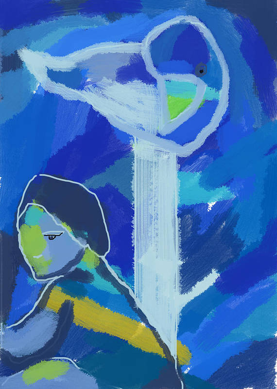 Blue Poster featuring the digital art A Quiet Afternoon By A Sea by Aliza Souleyeva-Alexander