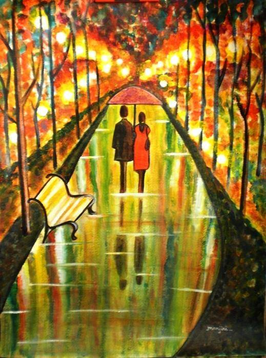 Romantic Painting Art Colorful Rainy Umbrella Bench Road Poster featuring the painting A Rainy Day III by Manjiri Kanvinde