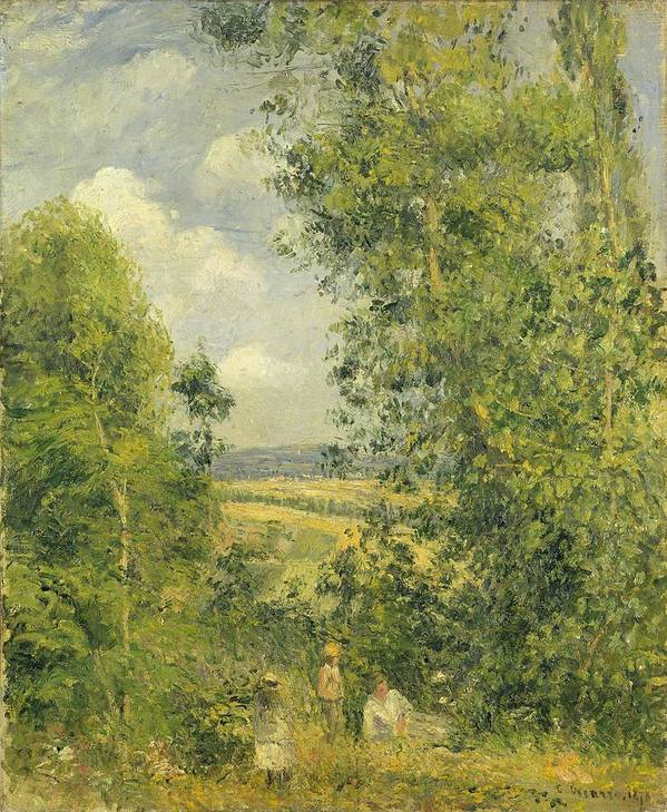 Rest Poster featuring the painting A Rest In The Meadow by Camille Pissarro