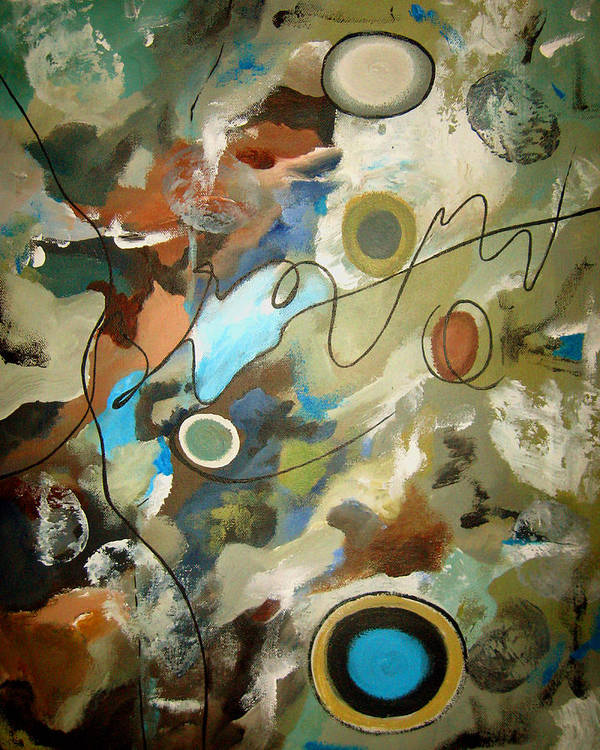 Abstract Poster featuring the painting A Rolling Stone Gathers No Moss by Ruth Palmer