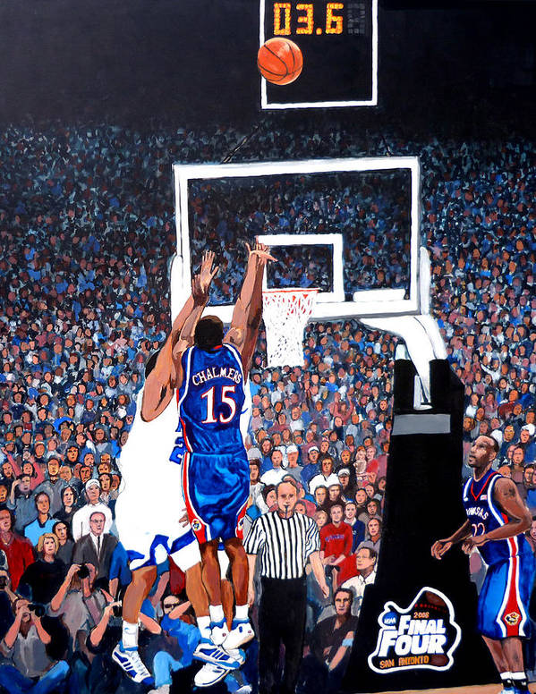 Jayhawks Poster featuring the painting A Shot To Remember - 2008 National Champions by Tom Roderick