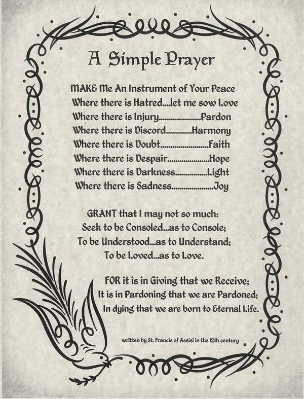 A Simple Prayer For Peace By St  Francis Of Assisi On Parchment Poster