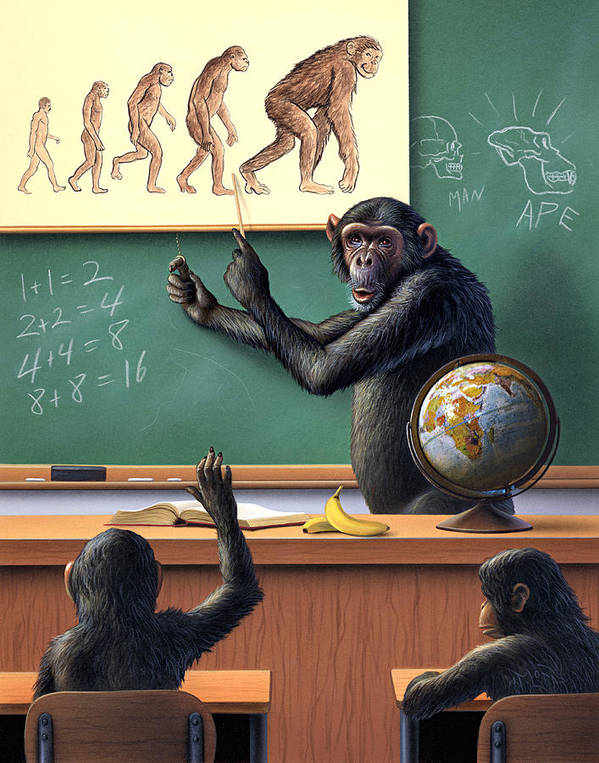 Darwin Poster featuring the painting A Specious Origin by Jerry LoFaro