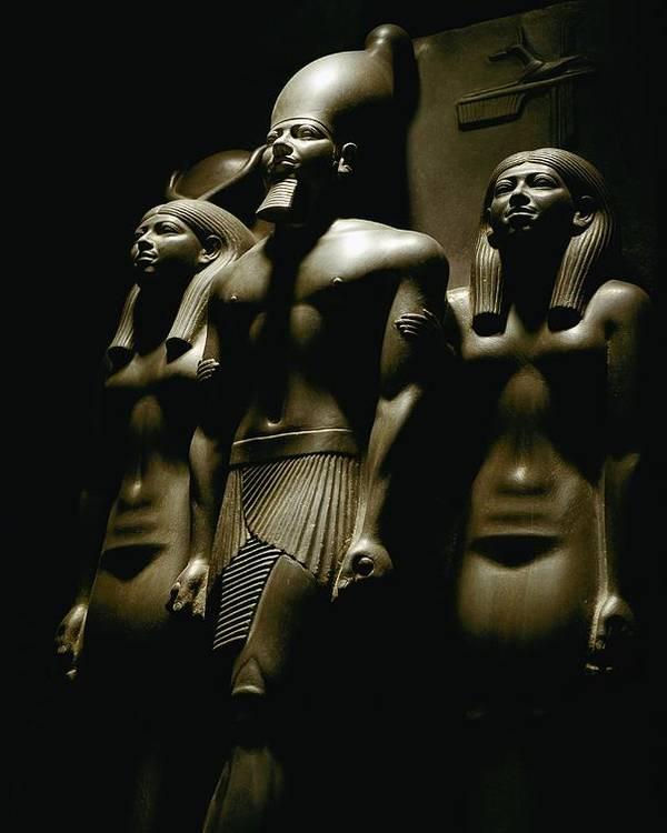 Dynasties Poster featuring the photograph A Statue Of Pharoh Menkaura by Kenneth Garrett