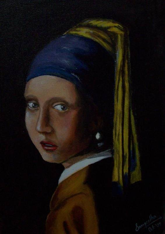 Portrait Poster featuring the painting A Study Of The Girl With Pearl Earring By Vermeer by S P