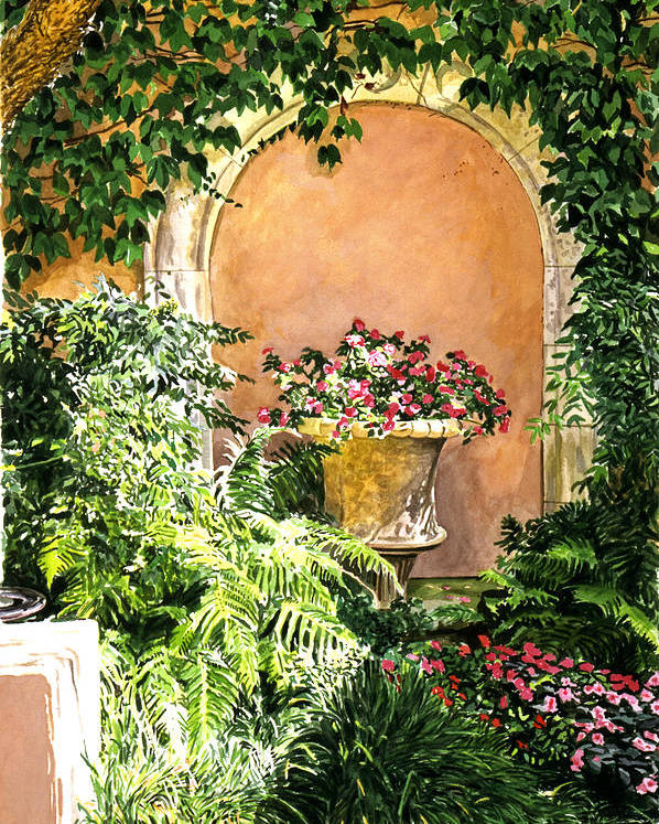 Flower Pots Poster featuring the painting A Sunny Nook Hotel Bel - Air by David Lloyd Glover