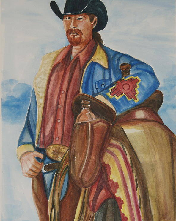 Cowboy Art Poster featuring the painting A Texas Horseman by George Chacon