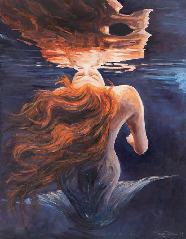 Mermaid Poster featuring the painting A Trick Of The Light - Love Is Illusion by Marco Busoni