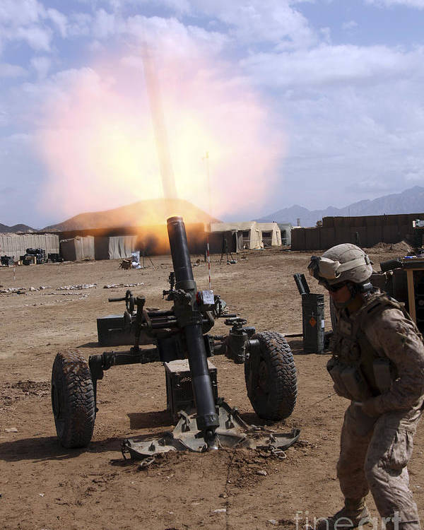 Us Marine Corps Poster featuring the photograph A U.s. Marine Corps Gunner Fires by Stocktrek Images
