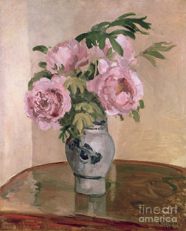 A Vase Of Peonies Poster featuring the painting A Vase Of Peonies by Camille Pissarro
