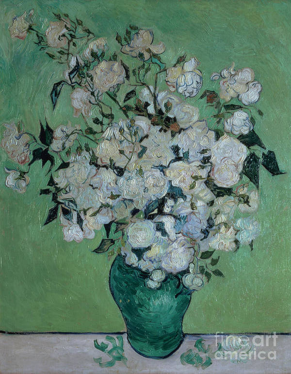 Vase Poster featuring the painting A Vase Of Roses by Vincent van Gogh