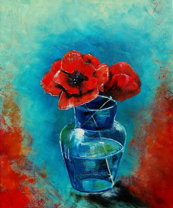 Flowers Poster featuring the painting A Vase With Poppies by Veronique Radelet