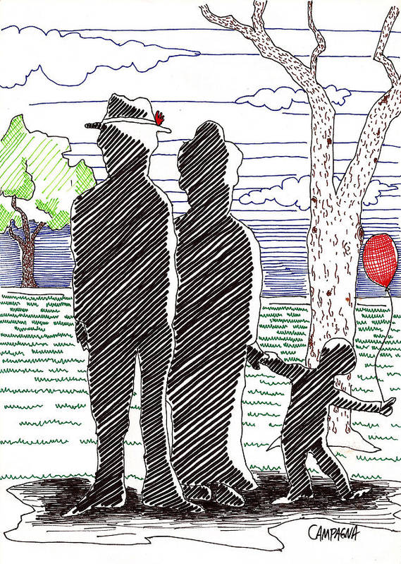 Artist Marker Poster featuring the drawing A Walk In The Park by Teddy Campagna