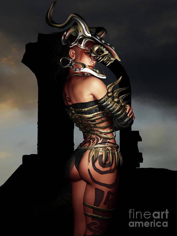 3d Poster featuring the digital art A Warrior Stands Alone by Alexander Butler