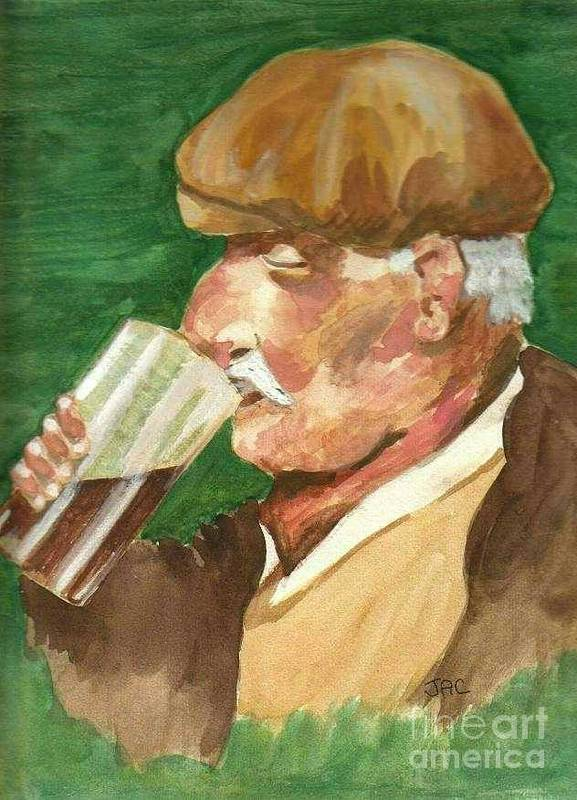 Man Poster featuring the painting A Welcome Pint by Jacqui Kilcoyne