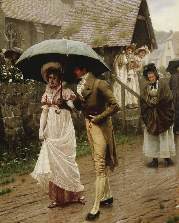 A Wet Sunday Morning Poster featuring the painting A Wet Sunday Morning by Edmund Blair Leighton