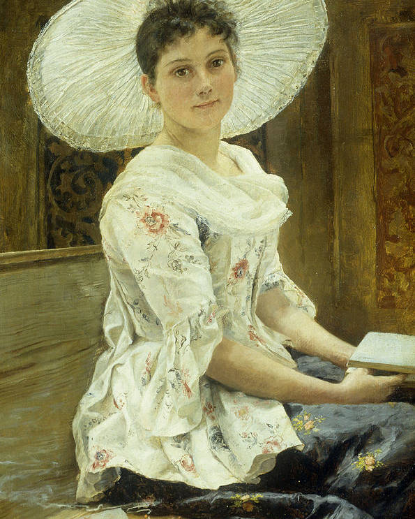Sat Poster featuring the painting A Young Beauty In A White Hat by Franz Xaver Simm