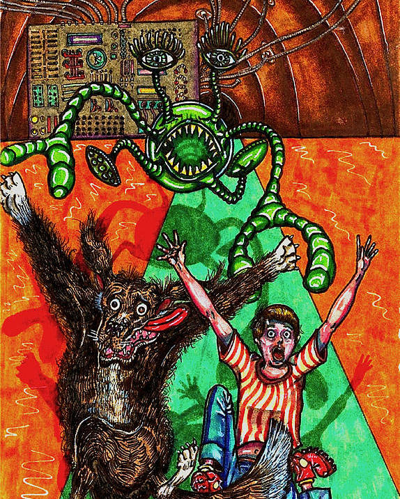 Dog Poster featuring the drawing Aarron And Spacedog Chased By An Alien by Al Goldfarb