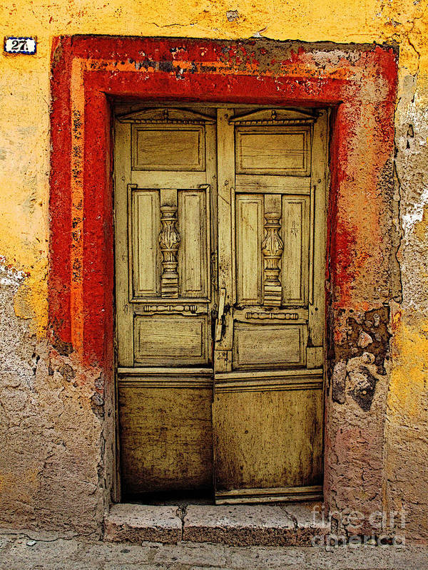 Darian Day Poster featuring the photograph Abandoned Green Door 1 by Mexicolors Art Photography
