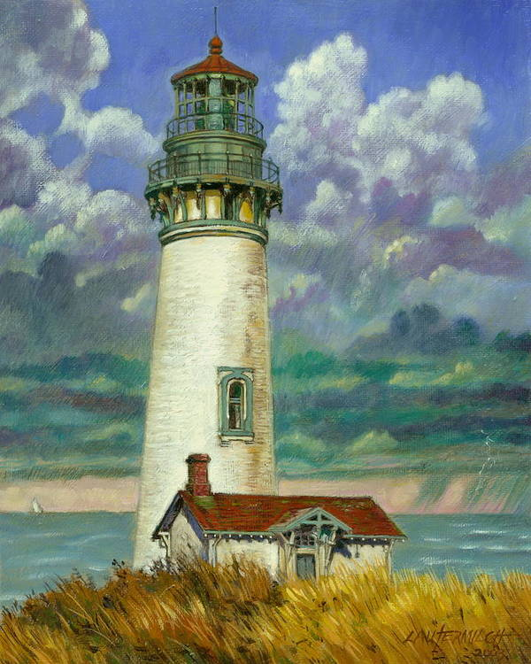 Lighthouse Poster featuring the painting Abandoned Lighthouse by John Lautermilch