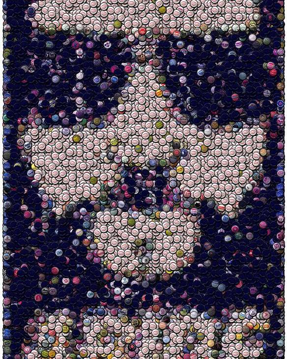 The Big Lebowski Poster featuring the mixed media Abide Bottle Cap Mosaic by Paul Van Scott